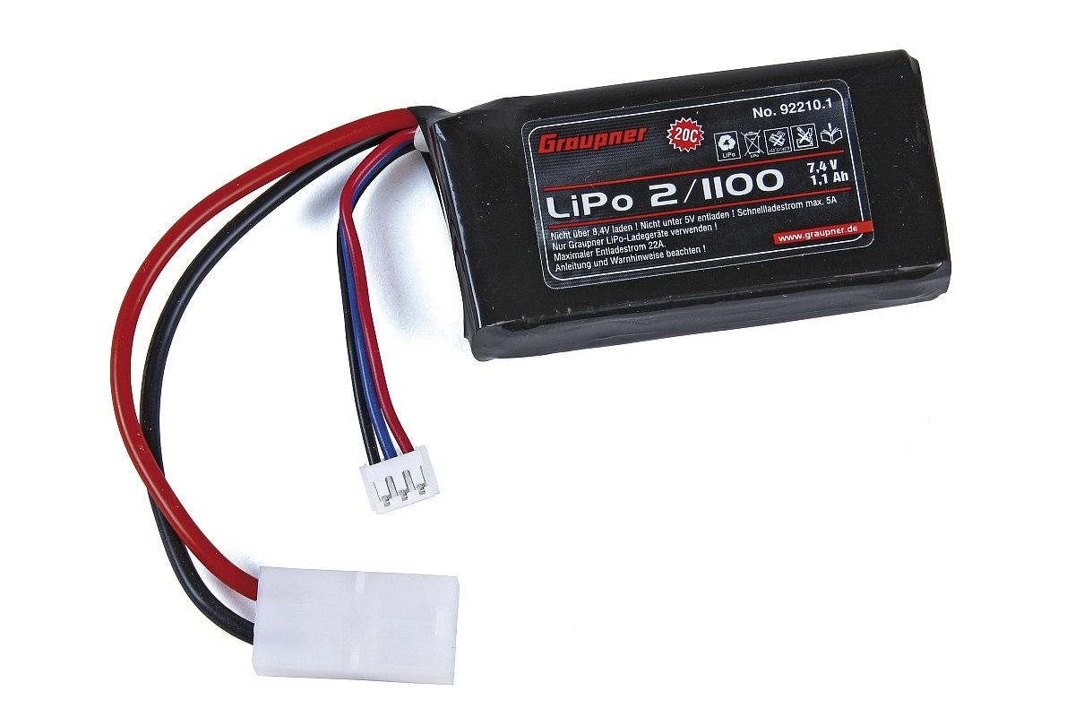 Náhľad produktu - Sky Surfer: LiPo-Acu Graupner 2/1100 7,4V s TAM konektorom
