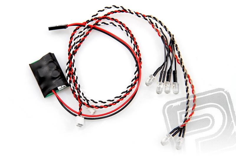 Axial jednoduchý LED systém včetně LED světel (4x bílé a 2x červené)