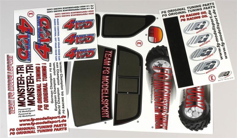 Náhľad produktu - Nálepky pro Monster/Stadium Truck 4WD, sada
