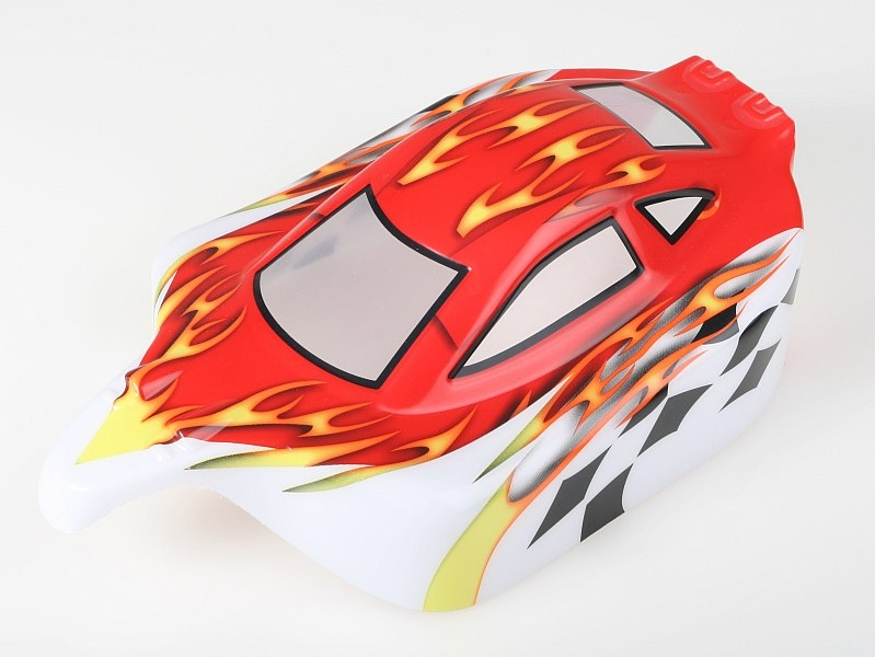 Náhľad produktu - Karosérie lakovaná Himoto Buggy 1:10 (červeno-bílá)