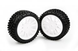 Nalepené gumy na bielych diskoch 2ks