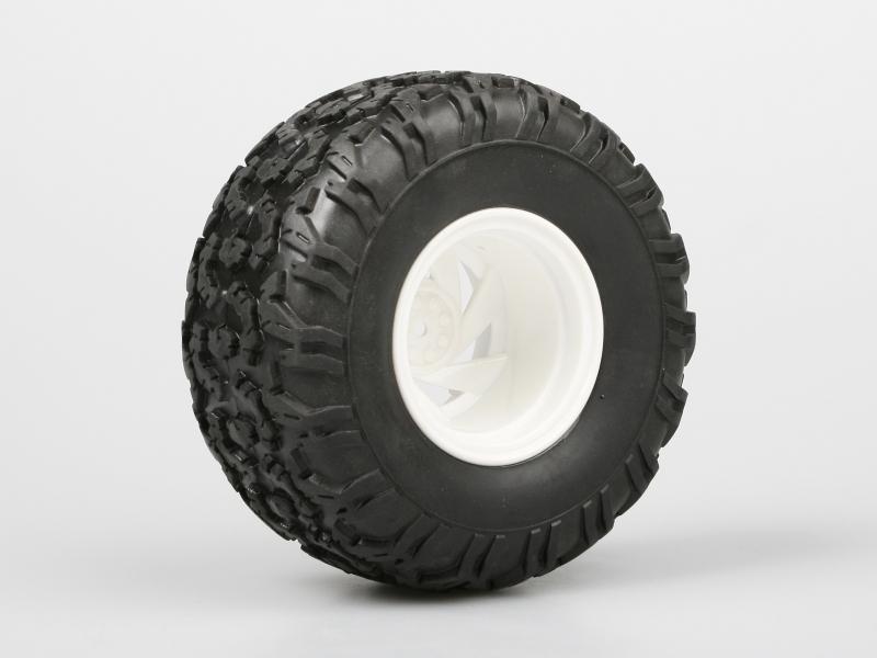 Náhľad produktu - Nalepené Monster gumy na bílých diskách, 1:10, 2ks.