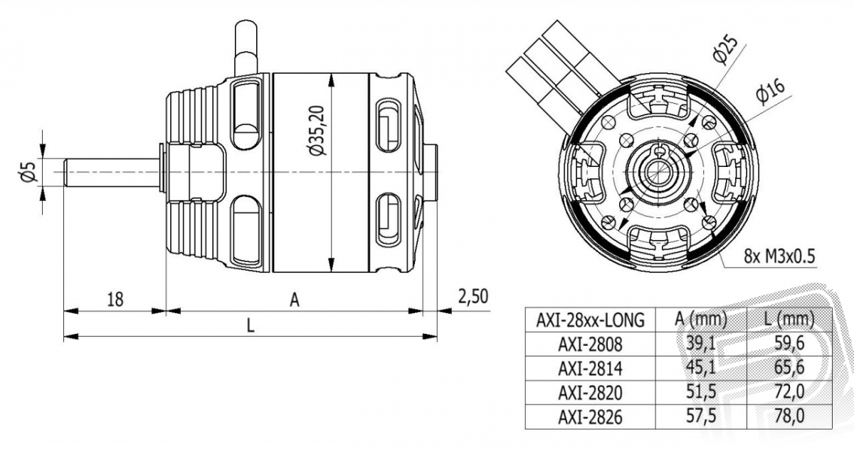 AXI 2814/12 V2 LONG střídavý motor