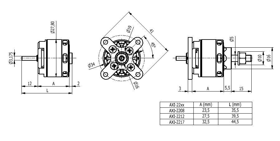 AXI 2208/26 V2 střídavý motor
