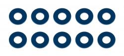 B6.2: Bulkhead podložky 7,8×3,5×0,5 mm, modré, hliníkové (10 ks)