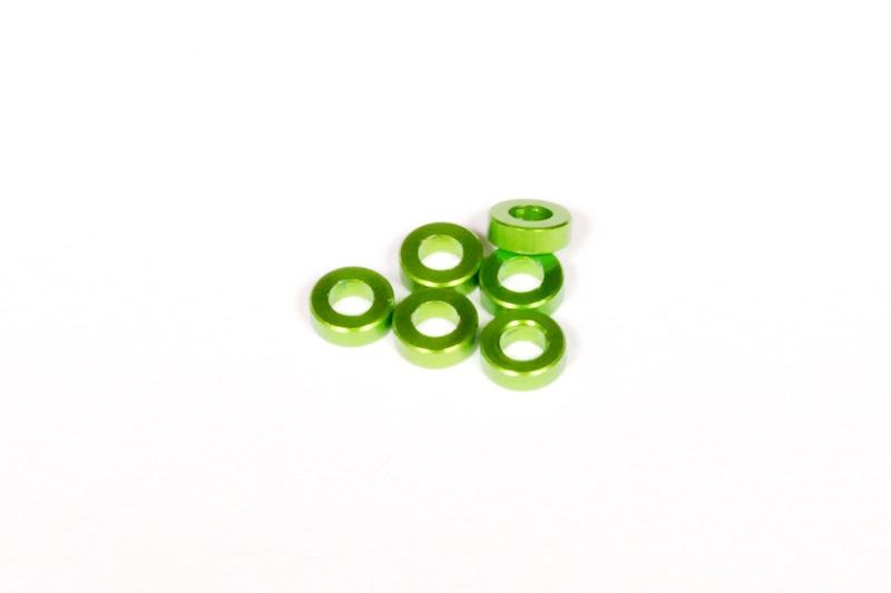 Náhled produktu - Hliníkové podložky 2x6mm zelené (6 ks.)