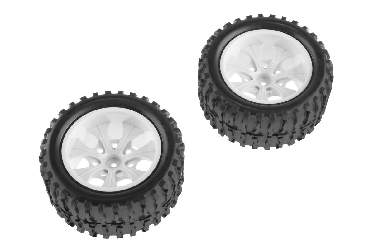 Nalepené gumy - 1/10 Monster, bílé disky (2ks)