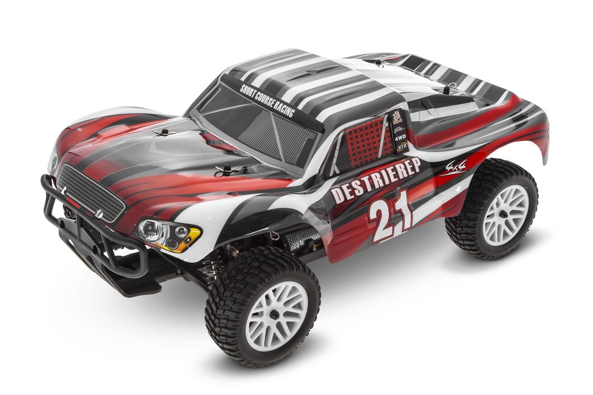 Náhľad produktu - 1:10 HIMOTO Short Course Truck RTR 4WD s 2.4GHz RC súpravou (červená)