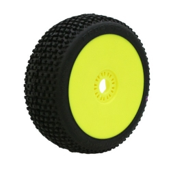 MARATHON (super soft / fialová směs) Off-Road 1:8 Buggy gumy nalepené na žlutých discích (2 ks)